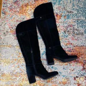 Franco Sarto knee-high suede heel boots 8.5